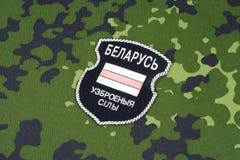 KIEW, UKRAINE - August 2015 Belarussische Freiwillige in Ukraine-Armee Russisch-Ukraine-Krieg 2014 - 2015 Nicht offizieller einhe Stockbilder