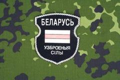 KIEW, UKRAINE - August 2015 Belarussische Freiwillige in Ukraine-Armee Russisch-Ukraine-Krieg 2014 - 2015 Nicht offizieller einhe Stockbild
