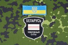 KIEW, UKRAINE - August 2015 Belarussische Freiwillige in Ukraine-Armee Russisch-Ukraine-Krieg 2014 - 2015 Nicht offizielles einhe Lizenzfreies Stockbild