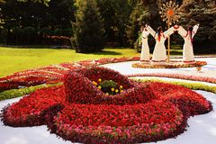 KIEW, UKRAINE - 23. AUGUST: Blumenausstellung in Kiew, Ukraine Stockfotografie