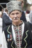 Kiew, Ukraine - 24. August 2013 Feier des Unabhängigkeitstags, älterer Mann Lizenzfreies Stockfoto