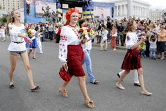 KIEW, UKRAINE - 24. August 2013 - Indipendence-Tag Lizenzfreie Stockfotografie