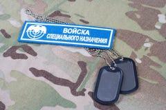 KIEW, UKRAINE - 19. August 2015 Russischer Uniformausweis der besonderen Kräfte Lizenzfreie Stockfotografie