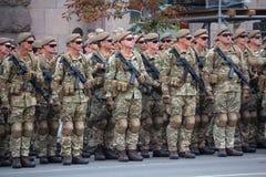Kiew, Ukraine - 19. August 2018: Soldaten der ukrainischen Armee auf Wiederholung der Militärparade lizenzfreies stockfoto