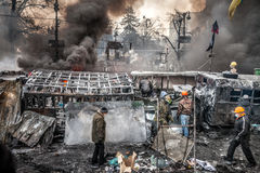 KIEW, UKRAINE - 25. Januar 2014: Regierungsfeindliche Massenproteste Lizenzfreie Stockfotos