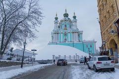Kiew, Ukraine - 19. Januar 2018: Straße Andreevsky Uzviz - die historische Mitte der Stadt Lizenzfreies Stockbild