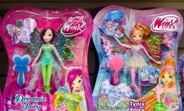 Kiew, Ukraine - 27. Januar 2019: Welt von Puppen Winx und Winx-Vereins für Verkauf im Speicher lizenzfreies stockbild