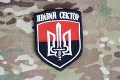 KIEW, UKRAINE - Juli, 08, 2015 Chevron des Ukrainers erbietet Korps freiwillig Stockfotografie