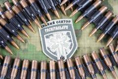 KIEW, UKRAINE - Juli, 08, 2015 Chevron des Ukrainers erbietet Korps freiwillig Lizenzfreie Stockbilder