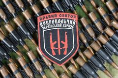 KIEW, UKRAINE - Juli, 08, 2015 Chevron des Ukrainers erbietet Korps freiwillig Lizenzfreie Stockfotografie