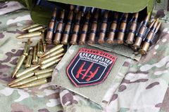 KIEW, UKRAINE - Juli, 08, 2015 Chevron des Ukrainers erbietet Korps mit den Wörtern freiwillig Lizenzfreie Stockfotos