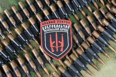 KIEW, UKRAINE - Juli, 08, 2015 Chevron des Ukrainers erbietet Korps mit den Wörtern freiwillig Lizenzfreies Stockbild