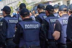 Kiew, Ukraine - 12. Juni 2016: Reihen ukrainischen Polizisten prote lizenzfreie stockbilder