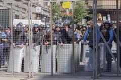 Kiew, Ukraine - 12. Juni 2016: Schnur der Polizei plattiert in der Rüstung Lizenzfreie Stockfotos