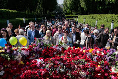 KIEW, UKRAINE - können Sie 09, 2015: Militärkapellen marschieren am Tag des 70. Jahrestages des Sieges über Nazismus in Kiew Stockfotos