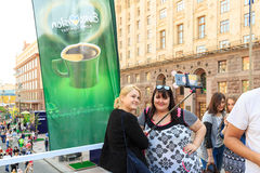 Kiew, Ukraine - können 6, 2017 Vorbereitungen für die Eurovision 2017 auf Khreshchatyk Freiheit, Musik kiew ukraine Lizenzfreies Stockfoto