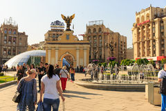 Kiew, Ukraine - können 6, 2017 Vorbereitungen für die Eurovision 2017 auf Khreshchatyk Freiheit, Musik kiew ukraine Stockfotos