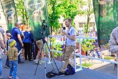 Kiew, Ukraine - können 6, 2017 Vorbereitungen für die Eurovision 2017 auf Khreshchatyk Freiheit, Musik kiew ukraine Stockbild