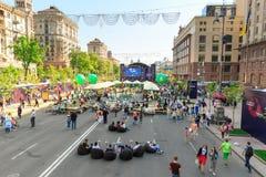 Kiew, Ukraine - können 6, 2017 Vorbereitungen für die Eurovision 2017 auf Khreshchatyk Freiheit, Musik kiew ukraine Lizenzfreie Stockfotografie