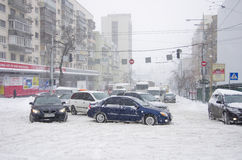 Blizzard in Kiew Stockfotos