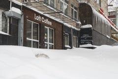Kiew, Ukraine, am 3. März 2018 Die Stadt wurde mit Schnee bedeckt Lizenzfreies Stockfoto