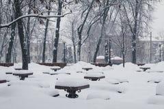 Kiew, Ukraine, am 3. März 2018 Die Stadt wurde mit Schnee bedeckt Lizenzfreies Stockbild
