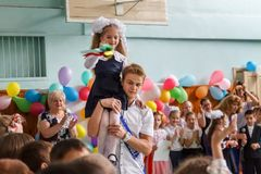 kiew ukraine Mai, 26 2017- Die letzte Glocke in der Highschool E Stockfotos