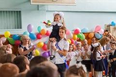 kiew ukraine Mai, 26 2017- Die letzte Glocke in der Highschool E Stockbild