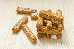 KIEW, UKRAINE - 31. MAI: Neue instagram Lebensmittel Jenga Tendenz, Jenga-Li stockbild
