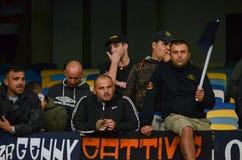 Kiew, UKRAINE - 13. September 2016: Italienische Fans FC Napoli im stan Lizenzfreie Stockfotos