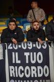 Kiew, UKRAINE - 13. September 2016: Italienische Fans FC Napoli im stan Stockfotografie