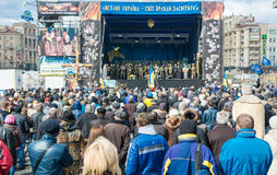In Kiew unbefriedigte Aktivisten Lizenzfreies Stockfoto