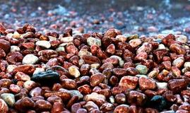 Kiezelsteen en rotsachtig strand van Gurzuf, de Krim, de Zwarte Zee Stock Fotografie