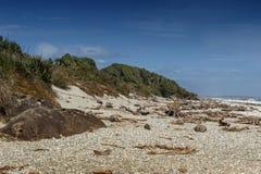 Kiezelsteenstrand van Tauparikaka Marine Reserve, Haast, Nieuw Zeeland royalty-vrije stock foto's