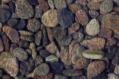 Kiezelstenen in ondiep water stock foto's
