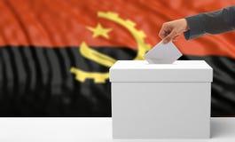 Kiezer op een de vlagachtergrond van Angola 3D Illustratie Stock Fotografie