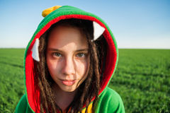 Kigurumi дракона девушки Стоковое фото RF