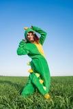 Kigurumi дракона девушки Стоковое Изображение RF