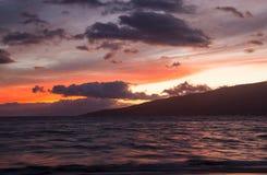 Заход солнца от пляжа Kihei Стоковое Изображение RF
