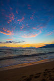 Kihei Sunset and Beach Footprints Stock Photos
