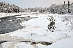Kiiminkijoki flod i den nordliga Ostrobothniaen Arkivbild