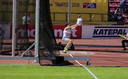 KIIRA VEGANANEN from Finland on hammer throw final on the IAAF World U20 Championship Tampere, Finland 14 July, 2018. TAMPERE, FINLAND, July 14: KIIRA VEGANANEN stock photography