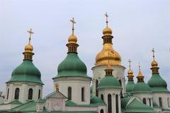 Kijów, Ukraina Szczegółowy widok siedem kopuł Świątobliwy Sophia kościół zdjęcia royalty free
