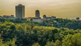 Kijów lub Kiyv, Ukraina: powietrzny panoramiczny widok centrum miasta zdjęcie royalty free