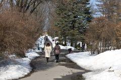 Kijów, Marzec 24, 2018, Ukraina Ludzie chodzą w wiosna parku blisko Kijów drogi leśną zimy Zdjęcia Royalty Free