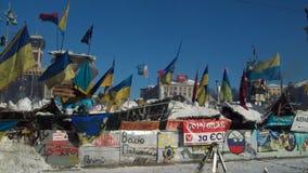 Kijów. Snow.2014 barykady zdjęcia royalty free