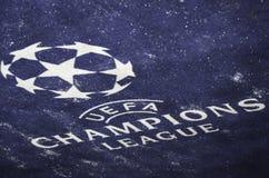 KIJÓW, UKRAINA - DEC 06: Śnieżny loga i emblemata UEFA mistrzów Lea Obraz Stock