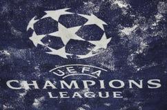 KIJÓW, UKRAINA - DEC 06: Śnieżny loga i emblemata UEFA mistrzów Lea Zdjęcia Stock