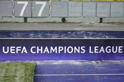 KIJÓW, UKRAINA - DEC 06: Logo L i emblemata UEFA mistrzowie Obrazy Stock