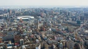 Kijów Ukraina, Kwiecień, - 7, 2018: Powietrzna fotografia Olimpijski stadium w mieście Kijów na chmurnym dniu zdjęcia royalty free